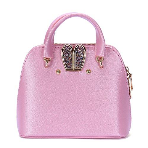 Dunland Mujer carteras bolsos cuero Satchel diseñador Diamantes de conejo bolsa A77 Rosado