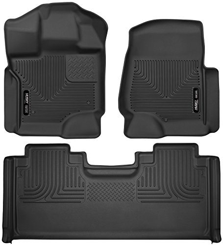 Husky Liners 53361-53451 - X-Act Contour - First and Second Rows (Full Coverage Under Second Row Seat) All Weather Custom Fit Floor Liners for 2017-2019  Ford F-250/F-350 Super Duty SuperCab - Black