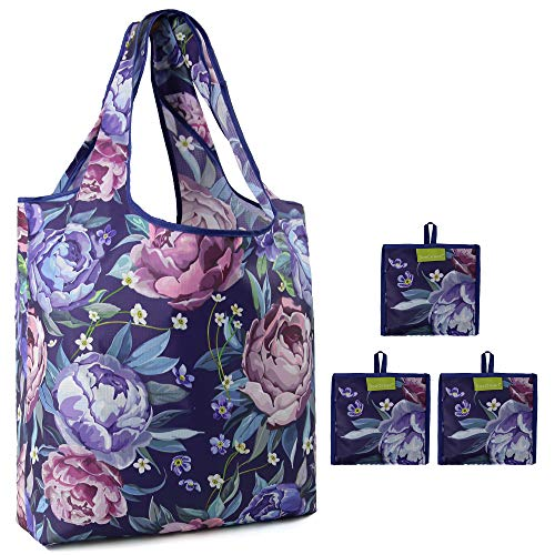 Folding Grocery Totes with Peony Prints Lightweight Rip Stop Nylon Fabric Shopping Bags Machine Washable Eco Friendly Reusable Flora Tote Bulk 3 Pack for Women Girls (Multicolored)