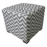 Sole Designs Zig Zag Design Merton Collection Grey Finish Button Tufted Upholstered Square Ottoman