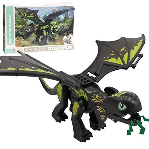 Jumbo Jurassic Dinosaur Building Blocks with Roaring Sound 11 × 16 Inches Large Black Dinosaur Figure STEM Take Apart Toy Gift for Kids Boys Girls Toddlers