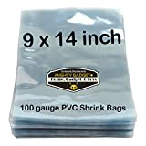 50 pcs Quality 9 x 14 inch PVC Shrink Wrap Bags for Books, Soaps, Bath Bombs, Bottles, Crafts & DIY Products by Mighty Gadget (R) - 100 gauge