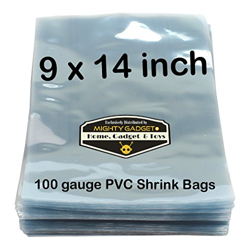 100 pcs Quality 9 x 14 inch PVC Shrink Wrap Bags for Books, Soaps, Bath Bombs, Bottles, Crafts & DIY Products by Mighty Gadget (R) - 100 gauge