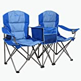 Kamp-Rite KAMPCC376 Outdoor Camping Furniture Beach Patio Sports 2 Person Double Folding Lawn Chair with Cooler and Cup Holders, Blue