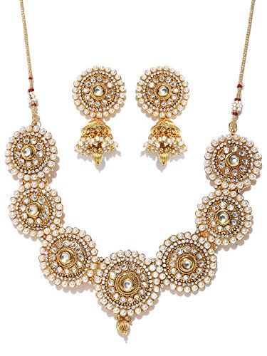 Zobby Ethnic Indian Traditional Off-White Gold Plated Handcrafted Stone-Studded Jewelry Set for Women (White)