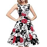 Vintage Rose Floral Print Tunic Sleeveless Female High Waist Dresses red XL