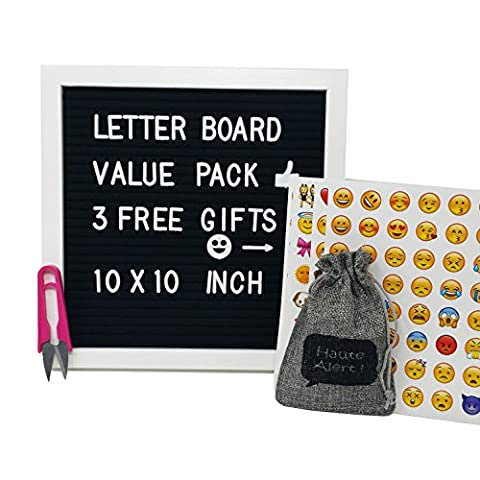 Vintage Felt Letter Board Black 10 x 10 inch White Frame - 290 Changeable Plastic Letters - Open Face Bulletin Board - Wooden Message Board (10x10 White - Message Board Letter