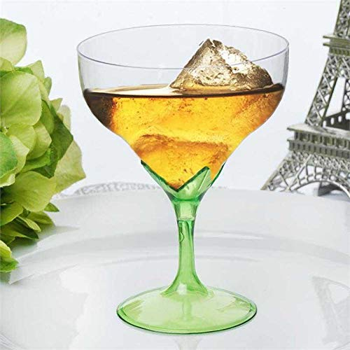 Tableclothsfactory 30 Pcs Disposable Clear Plastic Champagne Goblet-Green ()