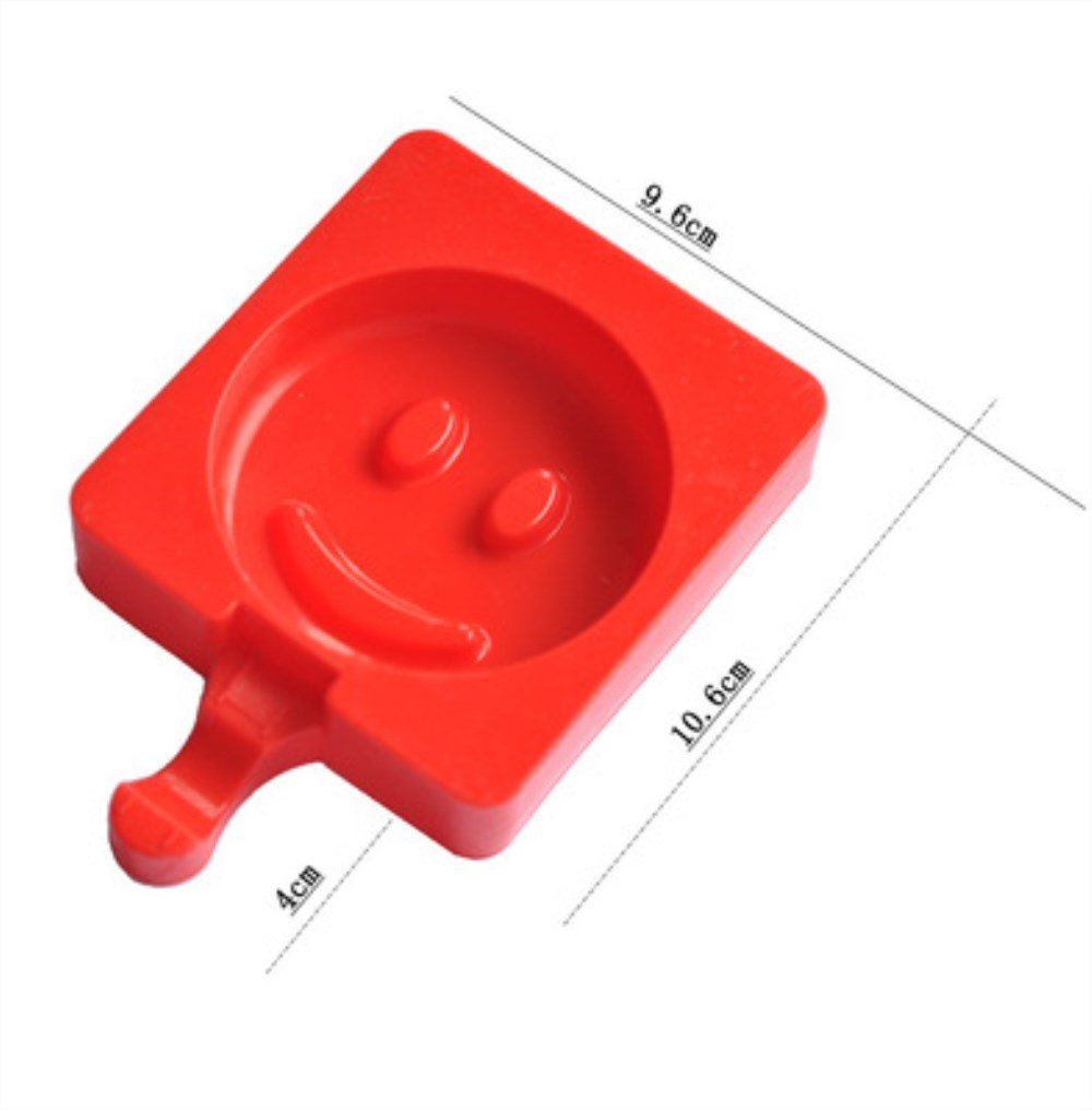 Cute Silicone Ice Cream Moulds Popsicle Molds BPA free Ice Pop Stick Lolly Maker Tool Set, Wonderful Tools for Party (Smiley face)