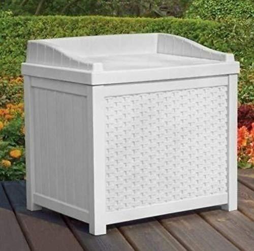 Moon_Daughter Bench Outdoor Deck White Storage Box Patio Garden Pool Resin Gallon Decorative Yard Seat