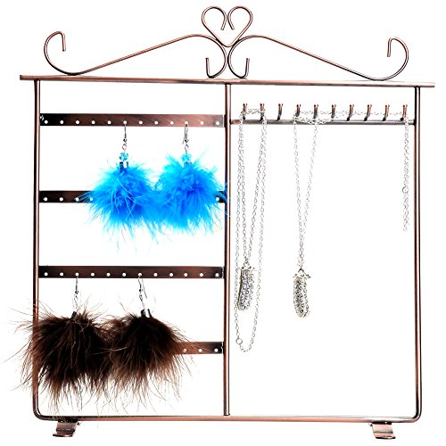 CozyCabin European Style Earrings Necklace Hanger Jewelry Display Rack Jewelry Earring Organizer Stand (Bronze A) ()