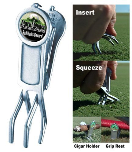 Mark Mender Golf Divot Repair Tool, Cigar Holder & Grip Rest, Repairs Ball Marks The Right Way, Magnetic Ball Marker, and Keeps Putters & Wedges off Wet Grass, Gifts for Him (4-Pack, 1 of Each) by Mark Mender (Image #2)