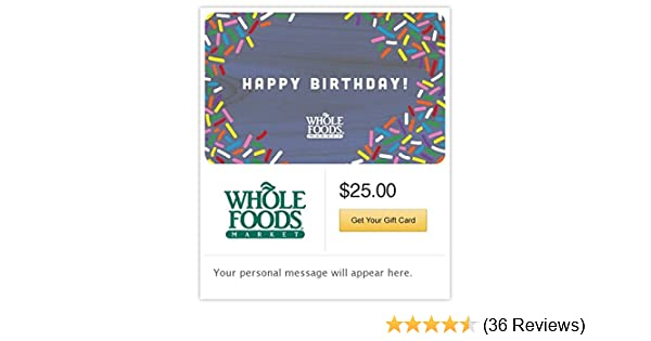 Whole Foods Market Happy Birthday Gift Cards