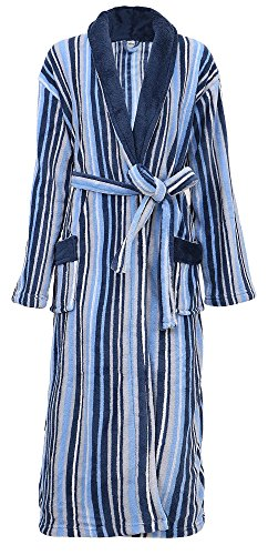 Men's Robe Soft Plush Velvet Terry Striped Bathrobe
