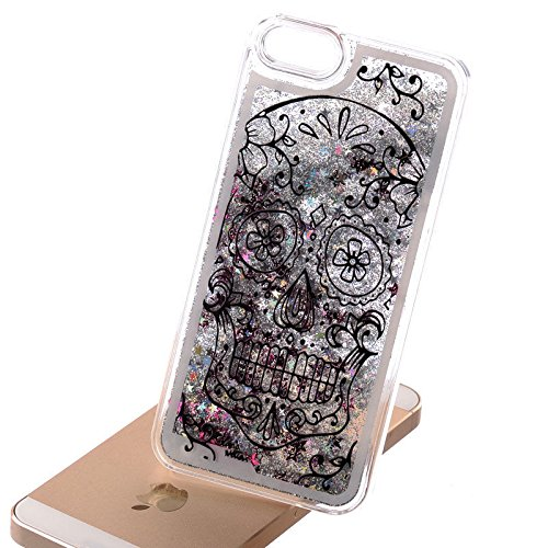 iPhone 8 / 7 , Dynamic Hard Case Glitter Bumper for Apple Clear Cover - Floral glitter skull ()