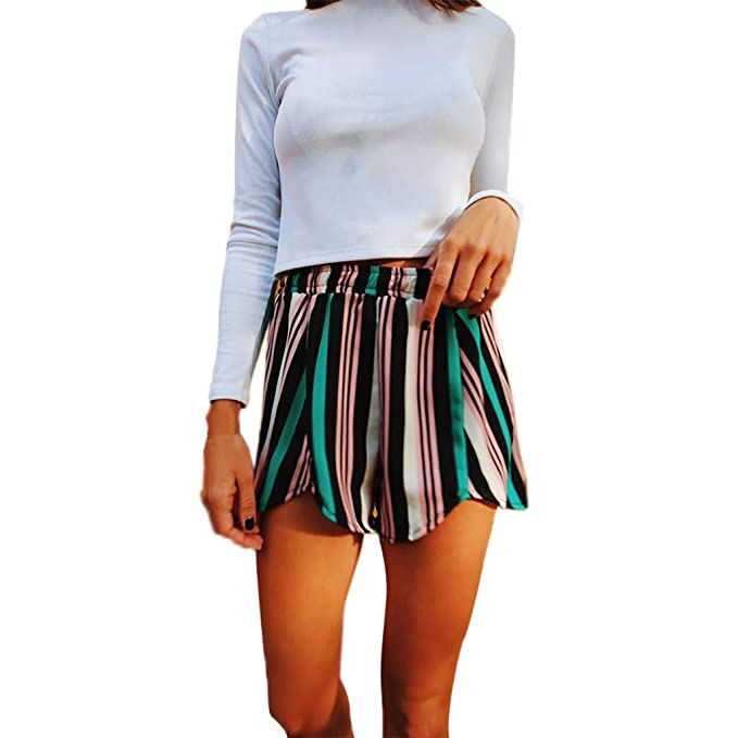 20c1a7fa62 beautyjourney Shorts de Playa a Rayas para Mujer Pantalones Cortos de  Deporte elástico Pantalones Cortos de Ocio de Pierna Ancha Suelta de Verano  Bermudas ...