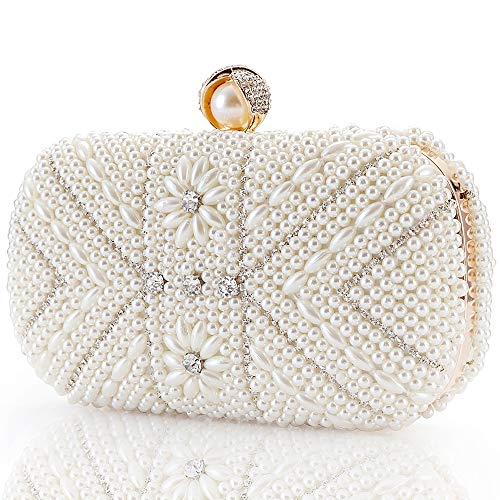 Womens Clutch Luxury Evening Bags Full Beaded Artificial Pearls Handbag for Wedding Parites Prom (C) ()
