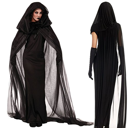 Costume Witch - Women Fancy Dress Halloween Costumes Witch With Gauze Cloak Gloves Black - Girl Broom Halloween Costume Witch Nails Women Costumes Party Decorations Costum Witch Halloween Cap ()