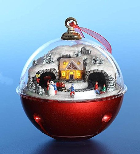 CC Christmas Decor Set of 2 Red and White Train Tunnel Musical Bell Ornaments 5''