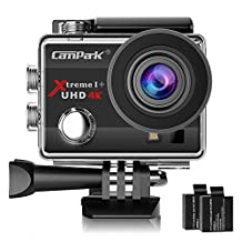 Campark 4K WiFi Action Camera 30M Underwater Camera 16MP Waterproof Sports Camera with 2.0 inch LCD Screen 170° Wide Angle + 2 Batteries