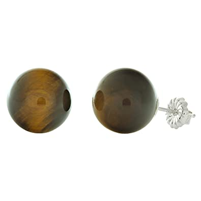 6ce57a794 Image Unavailable. Image not available for. Color: Trustmark 925 Sterling  Silver 10mm Natural Brown Tigers Eye Ball Stud Post Earrings