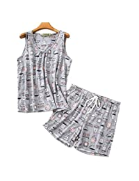 ENJOYNIGHT Women's Sleeveless PJS Print Tee and Shorts Sleepwear Tank Top Pajama Set