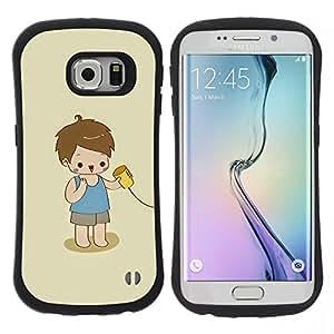 "Pulsar iFace Series Tpu silicona Carcasa Funda Case para Samsung Galaxy S6 EDGE , Cabrito que juega lindo Niño Bebé Madre"""