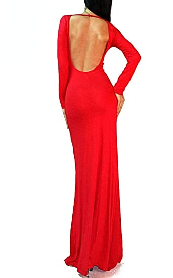 6338098041c Vivicastle Women s Long Sleeve Sexy Minimalist Backless Open Back Rayon  Maxi Dress at Amazon Women s Clothing store
