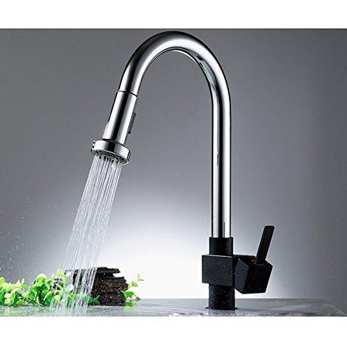 Heruai Hot And Cold Faucet Hose Kitchen Bathroom The Tap Brass Stretch Black Paint Pull Pull Faucet Stainless Steel Mirror Chrome Plated Ceramic Spool by Heruai