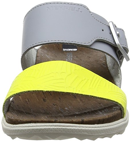 Merrell Women's Around Town Buckle Slide Print Heels Sandals Grey (Sleet) QZR3DbU