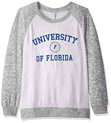 chicka-d NCAA Officially Licensed University Florida Ladies Cozy Crewneck Lightweight Sweatshirt/Sweater- Florida Gators Women's Apparel