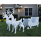 Christmas Outdoor Santa Sleigh and 2 Reindeer Set