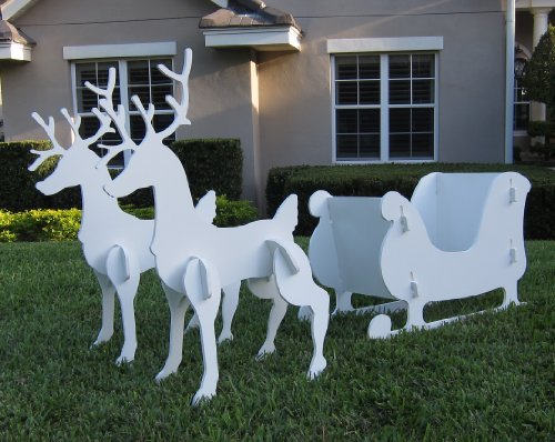 Christmas Outdoor Santa Sleigh and 2 Reindeer Set (Decoration Sleigh Christmas)