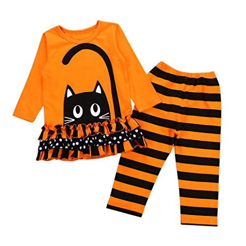 Toddler Baby Girls Cat Dresses Tops Striped Pants Halloween Costume Outfits Set -