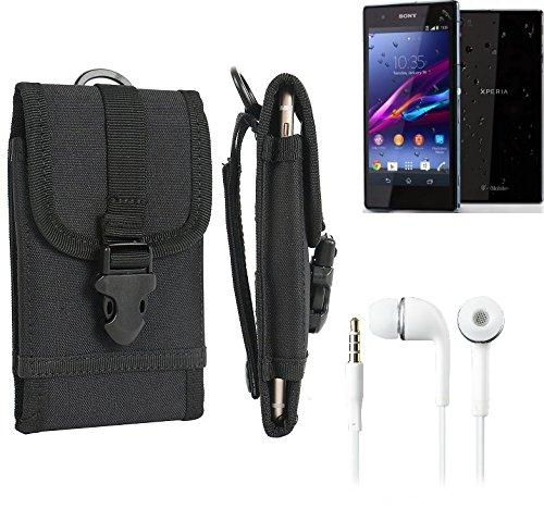 bolsa del cinturón / funda para Sony Xperia Z1 Compact, negro + Auriculares | caja del teléfono cubierta protectora bolso - K-S-Trade (TM)