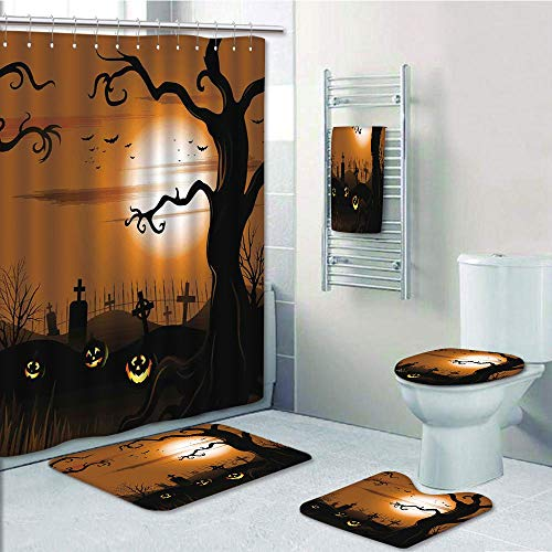 Bathroom Fashion 5 Piece Set shower curtain 3d print,Halloween Decorations,Leafless Creepy Tree with Twiggy Branches at Night in Cemetery Graphic,Brown Tan,Bath Mat,Bathroom Carpet Rug,Non-Slip,Bath T]()