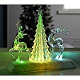 WeRChristmas Pre-Lit Colour Changing Led Musical Christmas Tree And Reindeer Scene Decoration, Acrylic, 24 Cm - Multi-Colour