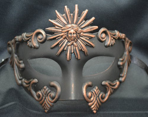Roman Couples Costumes - NEW Mens Mythological Bronze/black Sun God Greek Style Party Mask Mens Mythological Greek Style Party Mask Mardi Gras Party Halloween Ball Prom by BK