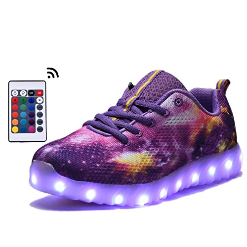 Girls Light Up Shoes (COODO CDR2006 Toddler & Kids LED Shoes With Remote Control Boy's & Girl's Flashing Light up Sneakers PURPLE-12)