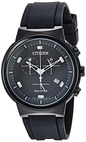 Citizen Men's Eco-Drive Stainless Steel Japanese-Quartz Watch with Polyurethane Strap, Black, 21.5 (Model: AT2405-01E) (Eberhard Watch)