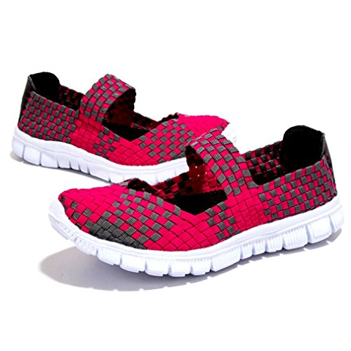 Minetom Women Summer Casual Breathable Woven Light Weight Elastic Trainer Comfort Slip On Sandals Loafer Flats Sport Water Shoes Pink J4tMmB