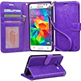Grand Prime Case, Arae Samsung Galaxy Grand Prime wallet case,[Wrist Strap] Flip Folio [Kickstand Feature] PU leather wallet case with ID&Credit Card Pockets For Samsung Galaxy Grand Prime (Purple)