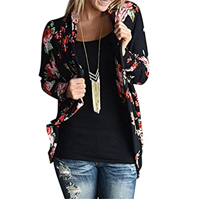 Casual Outwear, WuyiMC Women Boho Long Sleeve Floral Print Blouse Cardigan Kimono Wrap Coverup Tops