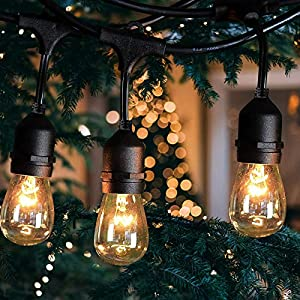 48Ft LED Outdoor String Lights with 17 Waterproof Energy Saving Bulbs Connectable Patio Lights Decorative Café Garden…