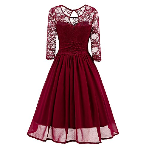 (Dresses for Women Vintage Scoop Neck Floral Lace 3/4 Sleeve A-line Pleated Wing Cocktail Dress (S, Wine red))