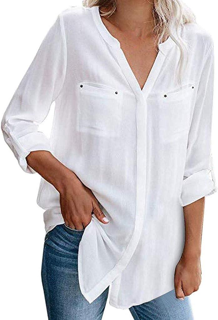 PARVAL-Mujer Camiseta con Botones de Mujer Blusa de algodón Camiseta de Manga Larga Camisa Entallada Blusa con Bolsillo Hermosa Streetwear: Amazon.es: Ropa y accesorios