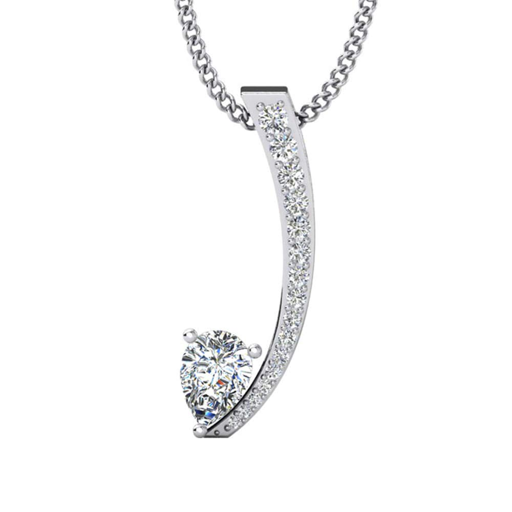 DTJEWELS Berhalla Pendant W//18 Chain 0.65 Cts Pear /& Round Shape Sim Diamond in 14K Gold Plated .925