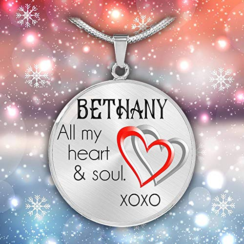 (Valentine Ideas For Her - Bethany All My Heart & Soul Xoxo, Valentine For Wife, Necklace Extender Silver, Necklace With Name Personalized Name, Personalized Necklace Name - Stainless Steel)