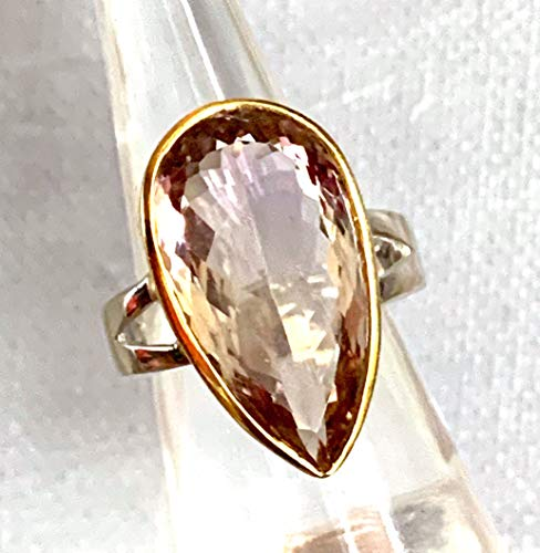 Sz 6.75, Genuine Bi-Color Purple/Yellow AMETRINE (11.2 ct.) Large Pear Facet Gemstone, 14K White/Yellow GOLD and 925 Sterling Silver, Handmade Two-Tone Ring (2.4 x 1.4cm) Jewelry. ()