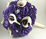 15pcs. Made to order Brooch Bouquet Wedding Bridal Flowers Real Touch Calla Liliy Silk Roses Bride Bridesmaids Ring Pillow Basket CUST-051